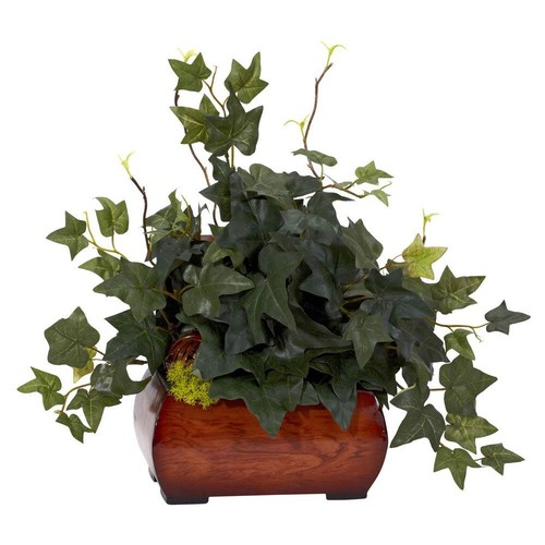 Nearly Natural 15 in. H Green Puff Ivy with Chest Silk Plant