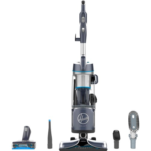 Hoover - REACT Powered Reach Plus Bagless Upright Vacuum - Blue