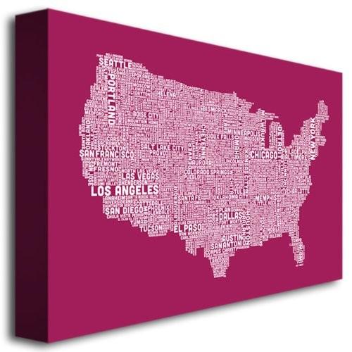 Trademark Fine Art US City Map X by Michael Tompsett Canvas Wall Art, 30x47-Inch