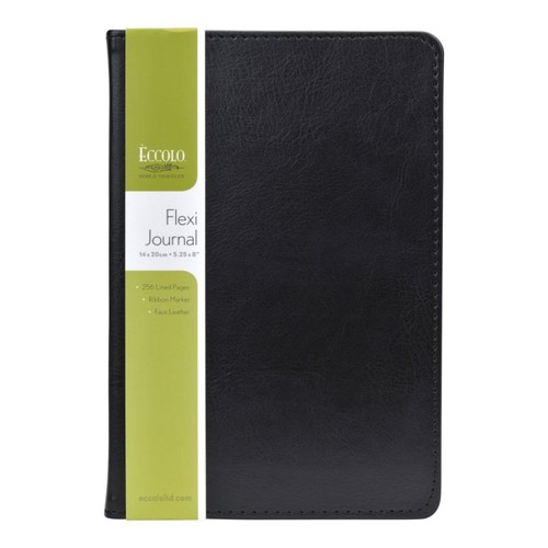 Eccolo Faux-Leather Journal, Black