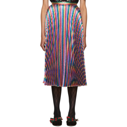 GUCCI Multicolor Lurex Plissé Skirt
