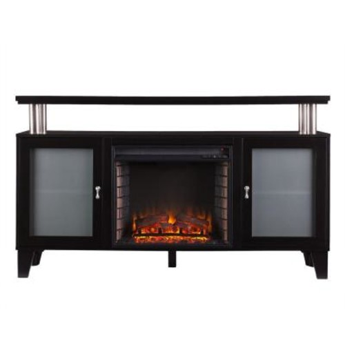 Southern Enterprises Cornelius 60 in. Freestanding Media Electric Fireplace TV Stand in Black