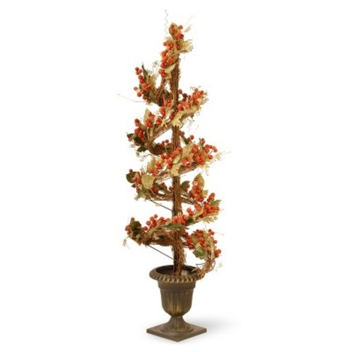 Artificial Berry and Leaf Vine Topiary Red 48