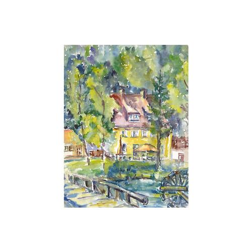 Northwoods Manor Watercolor, C. 1960