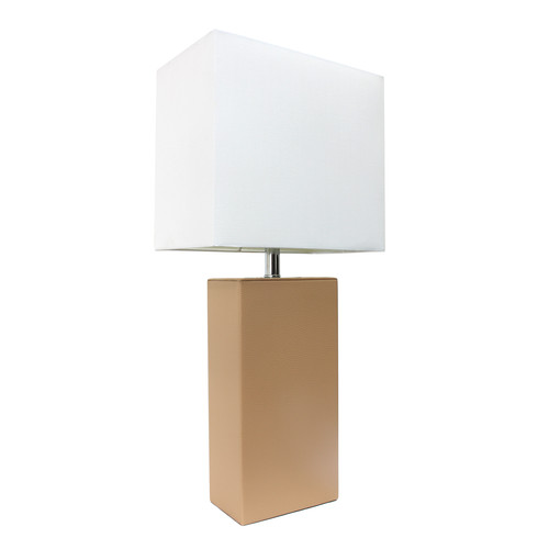 Elegant Designs Modern Leather Table Lamp with White Fabric Shade, Beige