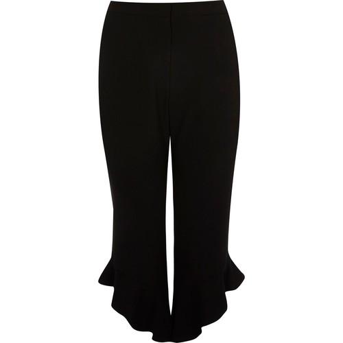 Plus black frill hem cropped pants