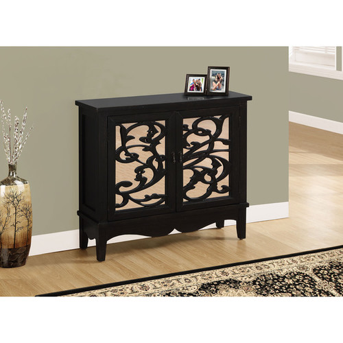 Antique Black / Mirror Traditional Style Accent Chest