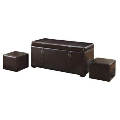 Simpli Home Dorchester Tanners Brown Storage Bench