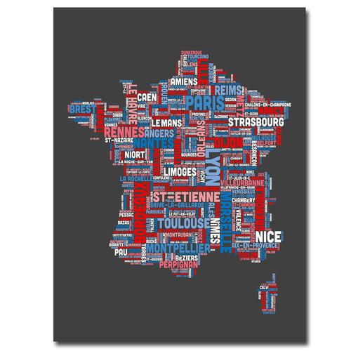 Trademark Global Michael Tompsett 'France City Text Map' Canvas Art [Overall Dimensions : 18x24]