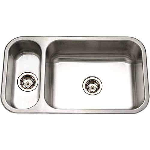HOUZER Elite Series Undermount Stainless Steel 32 in. Double Bowl Kitchen Sink