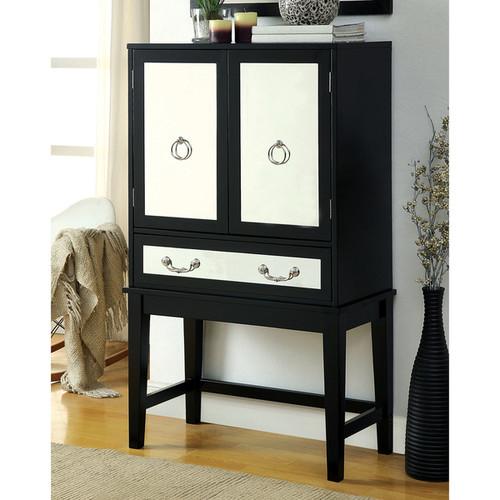 Furniture of America Madrid Contemporary Black Mirrored Wine Cabinet