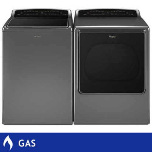 Whirlpool 5.3CuFt Smart Cabrio Top Load Washer 8.8CuFt GAS Smart Cabrio Dryer with Laundry App in Chrome Shadow