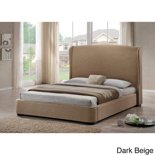 Baxton Studio Sheila Linen King Size Bed with Upholstered Headboard - Brown