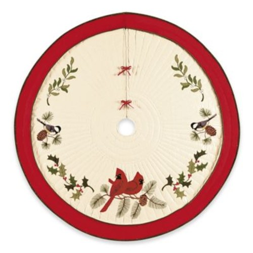 C&F Home Holiday Song Birds Christmas Tree Skirt in White/Red