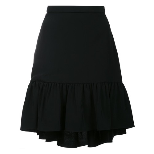 SAINT LAURENT Pleated Trim Flare Skirt