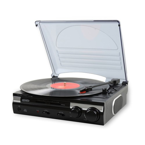 Jensen JTA-230 3 Speed Stereo Turntable with Built in Speakers [Black]