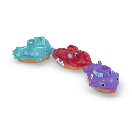 Melissa & Doug Sunny Patch Maritime Mates Boat Parade With 3 Linking Boats - Water Toys for Kids