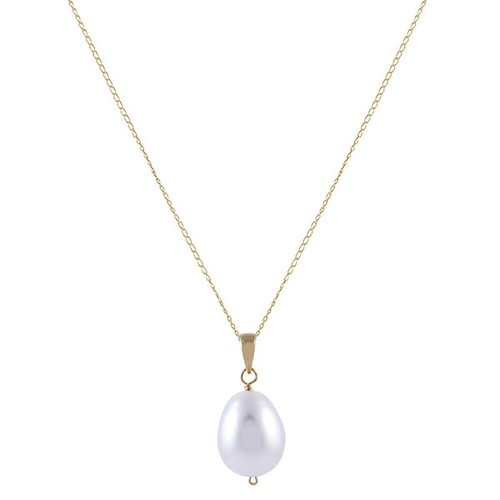 14k Yellow Gold White Freshwater Pearl Drop Necklace