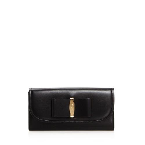 SALVATORE FERRAGAMO Vara Luxe Ornament Leather Continental Wallet