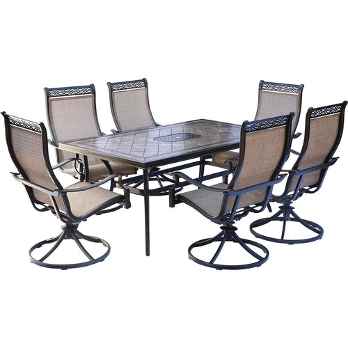 Hanover Monaco 7-Piece Aluminum Outdoor Dining Set with Rectangular Tile-Top Table and Contoured Sling Swivel Chairs