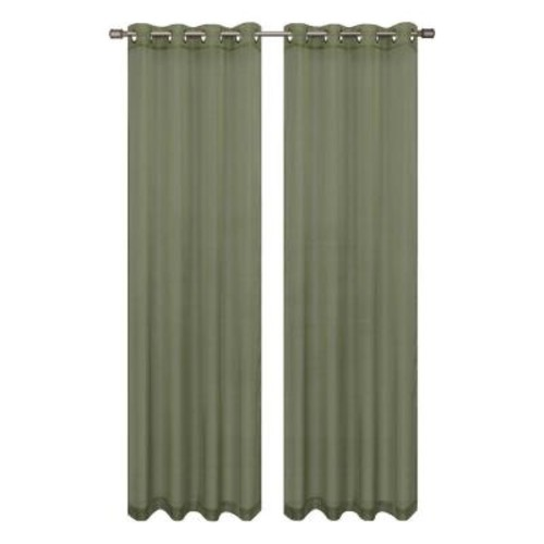 Window Elements Sheer Diamond Sheer Voile Sage Grommet Extra Wide Curtain Panel, 56 in. W x 90 in. L