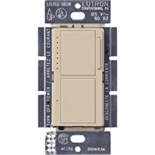 Lutron MA-L3S25-TP Maestro 300-Watt Single-Pole Digital Dimmer and 2.5 Amp On/Off Switch, Taupe [Taupe]
