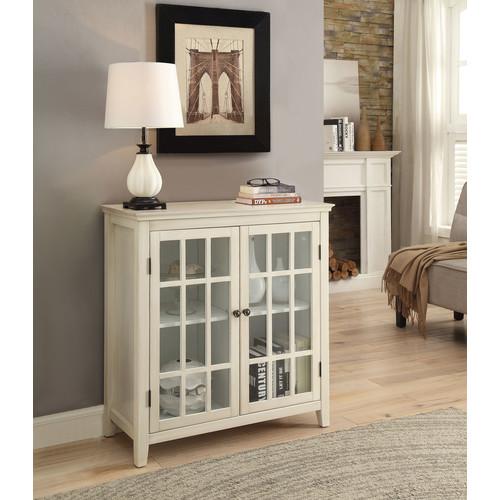 Linon Largo Antique White Double Door Cabinet