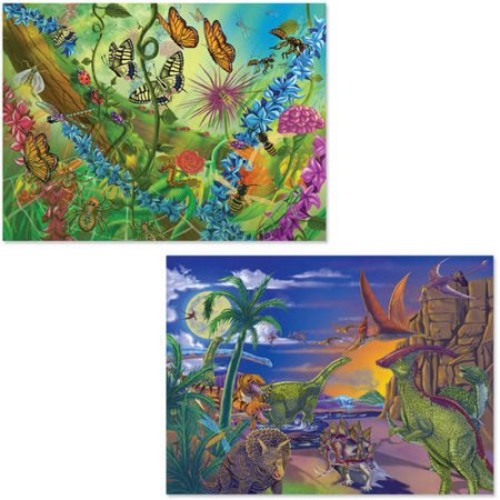 Melissa & Doug Jigsaw Puzzles Set - Bugs and Dinosaurs (60 pcs)