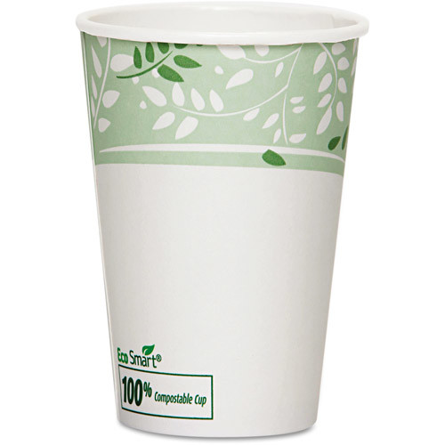 EcoSmart Hot Cups, PLA Lined Paper, Viridian, 50 Pack Size: 16oz [16 Oz]