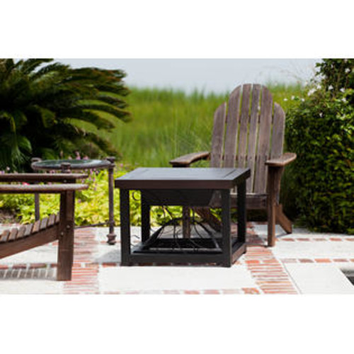 WELL TRAVELED 61331 Hammer Tone Bronze Finish Cocktail Table Fire Pit