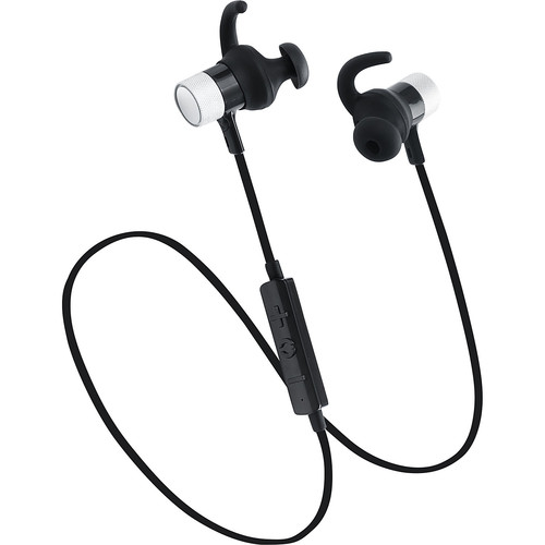 LAX Gadgets Sweatproof Bluetooth Wireless Sports Magnetic Earbuds with SecureFit Tips and Mic