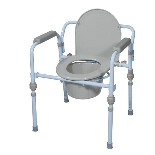 Drive Medical Folding Bedside Commode Seat with Bucket & Splash Guard