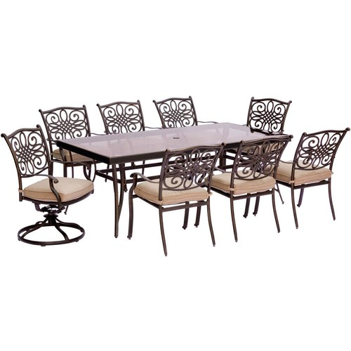 Hanover Traditions 9-Piece Aluminum Outdoor Dining Set with Rectangular Glass Table and 2 Swivels with Natural Oat Cushions