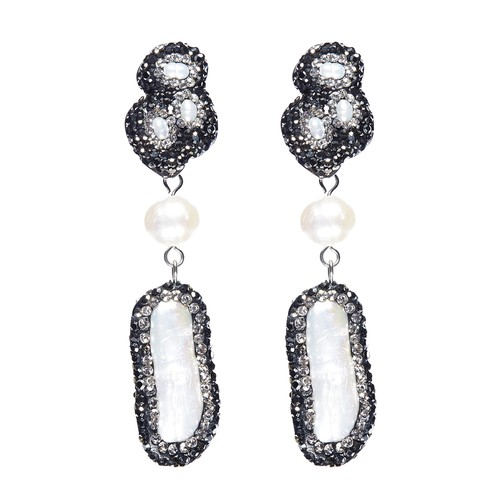 Summer Dreams Shell Pearls, Hematite Stones, & Pave Simulated Diamond Drop Pendant Earrings
