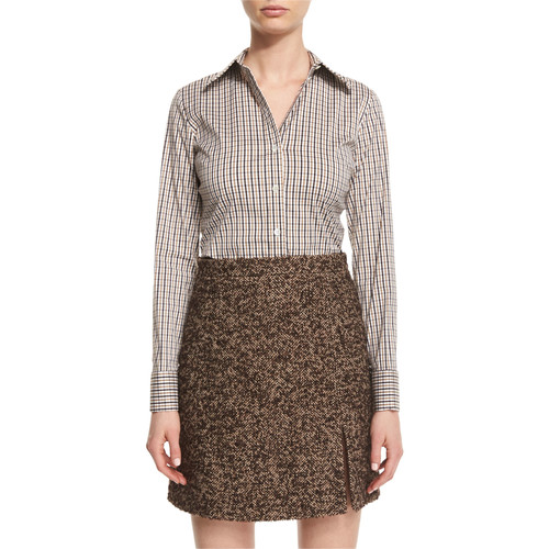 MICHAEL KORS COLLECTION Long-Sleeve Plaid Button-Down Blouse, Brown