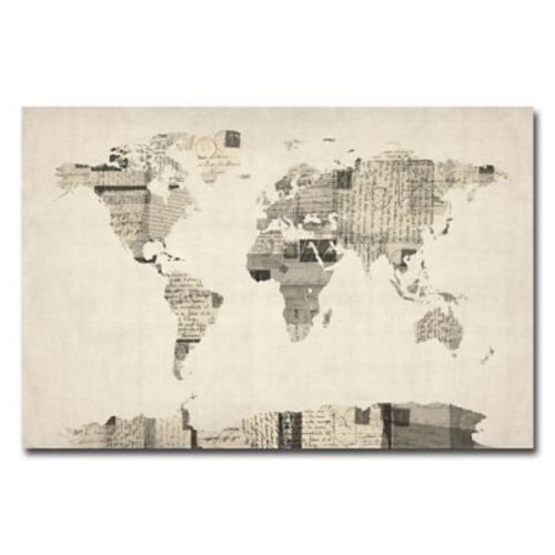 Trademark Fine Art Michael Tompsett 'Vintage Postcard World Map' Canvas Art 18x24 Inches