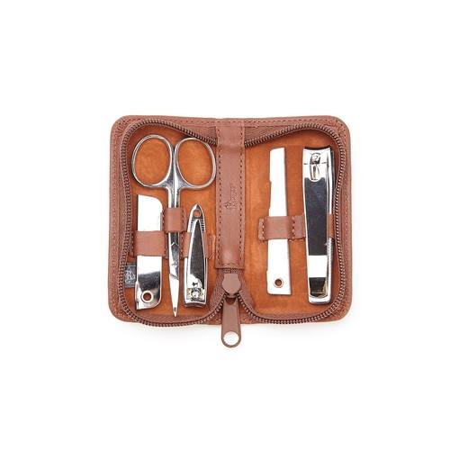 Executive Chrome Plated Mini Manicure Kit in Genuine Leather