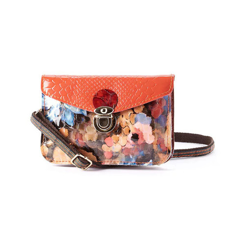 Diophy Mllecoco Crocodile-embossed Animal Print Leather Mini Crossbody Bag - Red