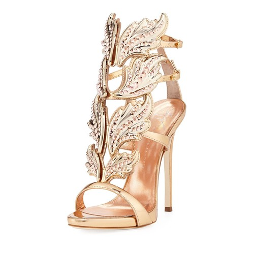 Coline Wings Leather 110mm Sandal, Rose G