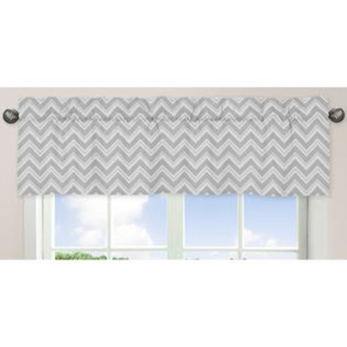 Sweet Jojo Designs Gray and White 54-inch x 15-inch Window Treatment Curtain Valance for Gray and Pink Zig Z