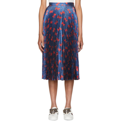 GUCCI Blue & Red Lurex Bow Plissé Skirt