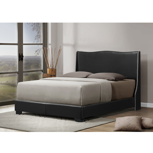 Baxton Studio Duncombe Black Modern Bed with Upholstered Headboard - Queen Size