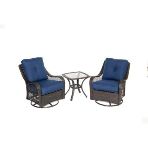 Hanover Orleans 3-Piece All-Weather Wicker Patio Bistro Set with Navy Blue Cushions