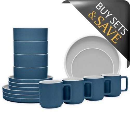 Noritake ColorTrio Stax 16-Piece Dinnerware Set in Blue/Grey