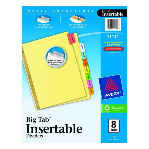 Avery Dividers, Insertable, Big Tab 8 tabs