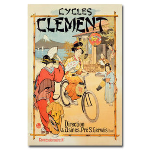 Trademark Global Cycles Clement Vintage Advertisement on Canvas Size: 24