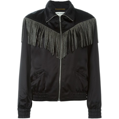 SAINT LAURENT Fringed Teddy Jacket