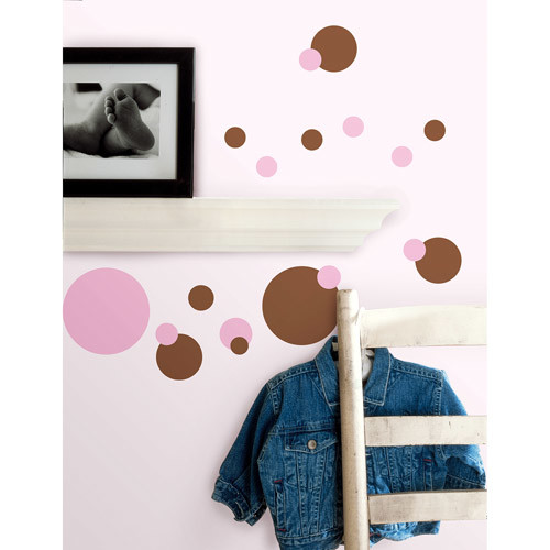 RoomMates RMK1245SCS Just Dots Pink and Brown Peel & Stick Wall Decals [Pink/Brown]