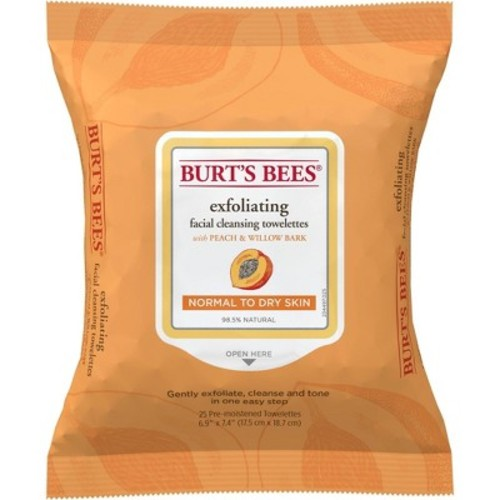 Burt's Bees Facial Cleansing Towelettes, Peach and Willow Bark, 25 ct