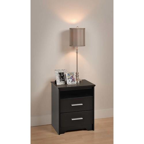 Prepac Coal Harbor 2-Drawer Tall Nightstand with Open Shelf, Black